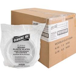 Genuine Joe 9 in Plastic Round Plates, Reusable/Disposable, 600/CT, White