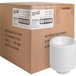 Genuine Joe Plastic Bowls, 12oz, 1000/CT, White