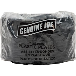 Genuine Joe Disposable 9 in Plastic Plates, Black, Pack of 125
