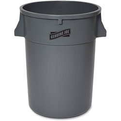 Genuine Joe Trash Container, Heavy Duty, 44 Gal, 31.5 in x 24 in x 24 in, Gray