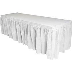 Genuine Joe Table Skirting, Pleated, White