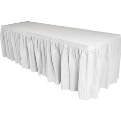 Genuine Joe Table Skirting, Pleated Polyester, 29 in x 14 ft., 6/CT, White