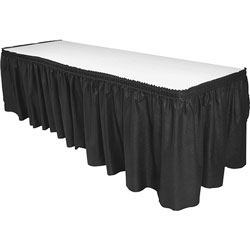 Genuine Joe Table Skirting, Pleated Polyester, 29 in x 14 ft., 6/CT, Black