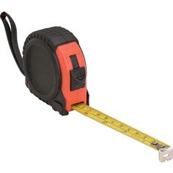 Genuine Joe Tape Measure, Imperial, 12', 1-1/4 inWx2-1/2 inLx2-2/5 inH, Black/Red