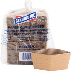 Genuine Joe Cup Sleeves, 10-16oz., Brown