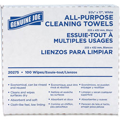 Genuine Joe Towels, Cleaning, Reusable, 9-1/2 in x 17 in, 1000/CT, White