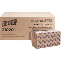 "Genuine Joe 21020 Natural Singlefold Paper Towels, 10 1/2"" x 9 3/10"""