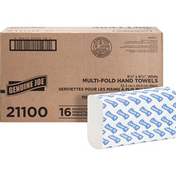 Genuine Joe 21100 White Multifold Paper Towels, 9 4/10 in x 9 1/4 in, 250 Sheets/Pack