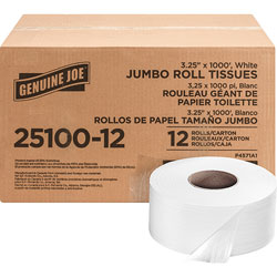 Genuine Joe Bath Tissue Roll, 2-Ply, 1000', 12/CT, White