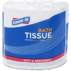 Genuine Joe Bath Tissue, 2-Ply, 500SH/RL, 4 in x 3.15 in, 96RL/CT, WE