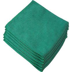 Genuine Joe Microfiber Cloth, General Purpose, Lint Free, 12/BG, Green