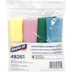 Genuine Joe Microfiber Cleaning Cloth, Blue, Pack of 4