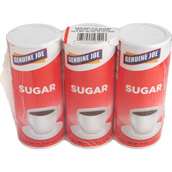 Genuine Joe White Sugar Canister with Reclosable Lid, 20 Ounce