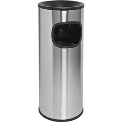 Genuine Joe Ashtray Receptacle, Fire-Safe, 3 Gal., Stainless Steel