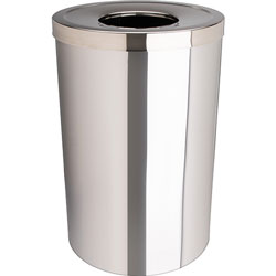 Genuine Joe Waste Receptacle, Open-Mouth, 30 Gal., Stainless Steel