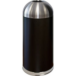 Genuine Joe Trash Receptacle, Domed Top, 15 Gal., Black/Silver