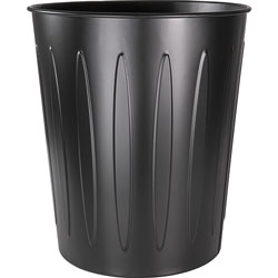 Genuine Joe Metal Trash Can, Fire-Safe, 13 inDX14 inH, Black