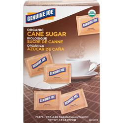 Genuine Joe Turbinado Cane Sugar, Unrefined, 200/BX, Brown