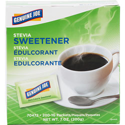 Genuine Joe Stevia Sweetener Packets, 200/BX, Green
