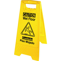 Genuine Joe Graphic Wet Floor Sign, Eng/Spanish, Yellow