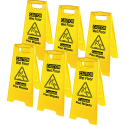 Genuine Joe Graphic Wet Floor Sign, Eng/Spanish, 6BX/CT, Yellow