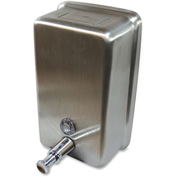 Genuine Joe Liquid Soap Dispenser, Vertical, 40oz Cap, Stainless Steel