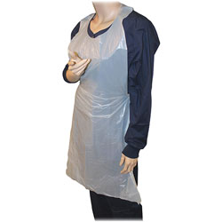 Genuine Joe Disposable Apron, Polyethylene, One Size Fits Most, 32 inx50 in, WE