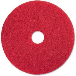 Genuine Joe Spray Buffing Floor Pads, 20 in, 5/CT, Red