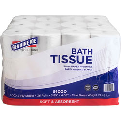 Genuine Joe Bathroom Tissue, 2-Ply, 36RL/CT, White