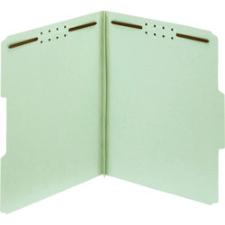 TOPS Pressboard Fastener Folders, 25pt, 1/3 Cut, Letter, 2 in Exp, 25/Box, Green