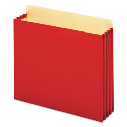 Pendaflex File Cabinet Pockets, 3.5 in Expansion, Letter Size, Red, 10/Box