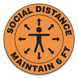 Accuform® Slip-Gard Social Distance Floor Signs, 17 in Circle,  inSocial Distance Maintain 6 Ft in, Human/Arrows, Orange, 25/Pack