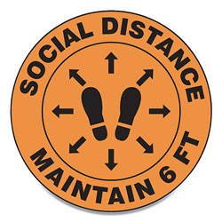Accuform® Slip-Gard Social Distance Floor Signs, 17 in Circle,  inSocial Distance Maintain 6 Ft in, Footprint, Orange, 25/Pack
