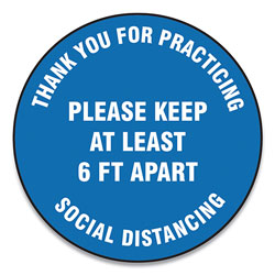 Accuform® Slip-Gard Floor Signs, 12 in Circle,  inThank You For Practicing Social Distancing Please Keep At Least 6 Ft Apart in, Blue, 25/PK