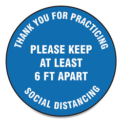 Accuform® Slip-Gard Floor Signs, 17 in Circle,  inThank You For Practicing Social Distancing Please Keep At Least 6 Ft Apart in, Blue, 25/PK