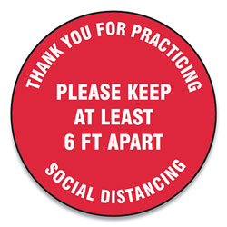 Accuform® Slip-Gard Floor Signs, 12 in Circle,  inThank You For Practicing Social Distancing Please Keep At Least 6 Ft Apart in, Red, 25/Pack