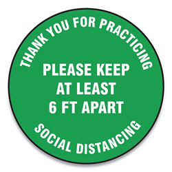 Accuform® Slip-Gard Floor Signs, 12 in Circle,  inThank You For Practicing Social Distancing Please Keep At Least 6 Ft Apart in, Green, 25/PK