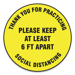 Accuform® Slip-Gard Floor Signs, 12 in Circle, inThank You For Practicing Social Distancing Please Keep At Least 6 Ft Apart in, Yellow, 25/PK