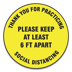 Accuform® Slip-Gard Floor Signs, 17 in Circle, inThank You For Practicing Social Distancing Please Keep At Least 6 Ft Apart in, Yellow, 25/PK