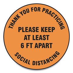 Accuform® Slip-Gard Floor Signs, 12 in Circle, inThank You For Practicing Social Distancing Please Keep At Least 6 Ft Apart in, Orange, 25/PK
