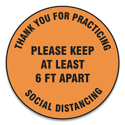 Accuform® Slip-Gard Floor Signs, 17 in Circle, inThank You For Practicing Social Distancing Please Keep At Least 6 Ft Apart in, Orange, 25/PK