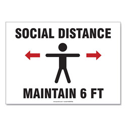 Accuform® Social Distance Signs, Wall, 14 x 10,  inSocial Distance Maintain 6 ft in, Human, White, 10/Pack