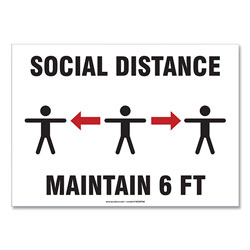 Accuform® Social Distance Signs, Wall, 10 x 7,  inSocial Distance Maintain 6 ft in, 3 Humans/Arrows, White, 10/Pack