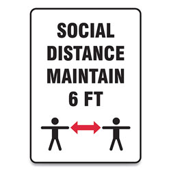 Accuform® Social Distance Signs, Wall, 10 x 7,  inSocial Distance Maintain 6 ft in, 2 Humans/Arrows, White, 10/Pack