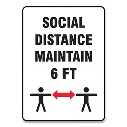 Accuform® Social Distance Signs, Wall, 14 x 10,  inSocial Distance Maintain 6 ft in, 2 Humans/Arrows, White, 10/Pack