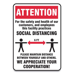 Accuform® Social Distance Signs, Wall, 10 x 7, Customers and Employees Distancing, Humans/Arrows, Red/White, 10/Pack