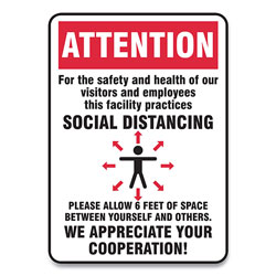 Accuform® Social Distance Signs, Wall, 14 x 10, Visitors and Employees Distancing, Humans/Arrows, Red/White, 10/Pack