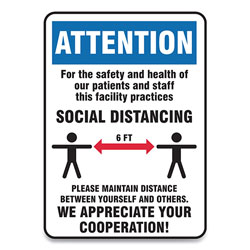 Accuform® Social Distance Signs, Wall, 14 x 7, Patients and Staff Social Distancing, Humans/Arrows, Blue/White, 10/Pack