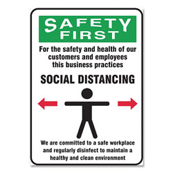 Accuform® Social Distance Signs, Wall, 14 x 10, Customers and Employees Distancing Clean Environment, Humans/Arrows, Green/White, 10/Pk