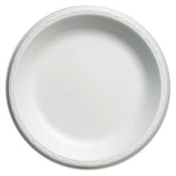 Genpak Elite Laminated Foam Plates, 10 1/4 in Dia, White, Round, 125/Pack, 4 Pack/Carton